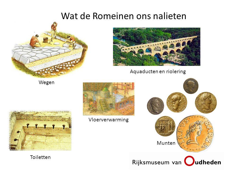 Wat de Romeinen ons nalieten Wegen Vloerverwarming Toiletten Aquaducten en riolering Munten