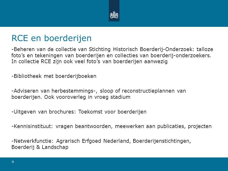 10 RCE en boerderijen (2) -Organiseren platform agrarisch erfgoed 2x per jaar -Meedenken in projecten (bv Krimp)