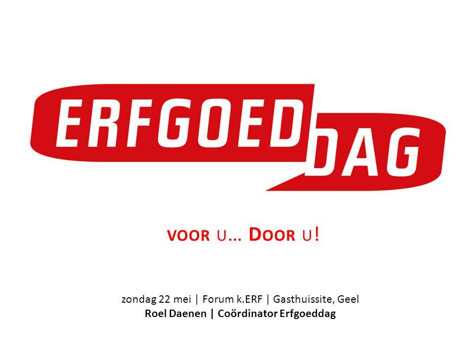 zondag 22 mei | Forum k.ERF | Gasthuissite, Geel Roel Daenen | Coördinator Erfgoeddag VOOR U … D OOR U !