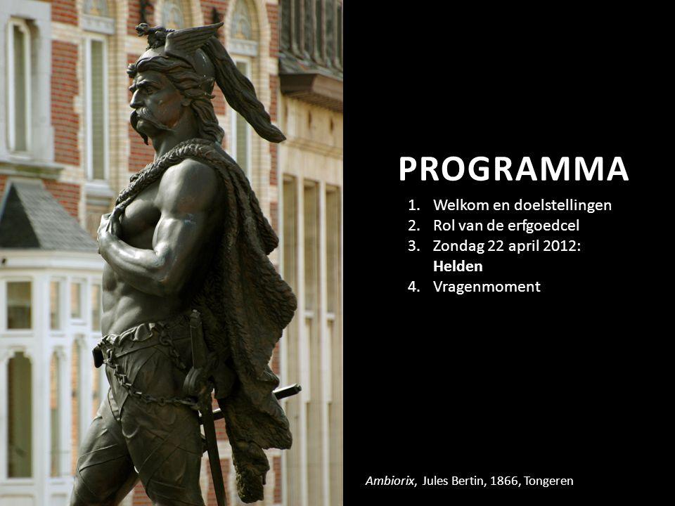 PROGRAMMA Ambiorix, Jules Bertin, 1866, Tongeren 1.Welkom en doelstellingen 2.Rol van de erfgoedcel 3.Zondag 22 april 2012: Helden 4.Vragenmoment
