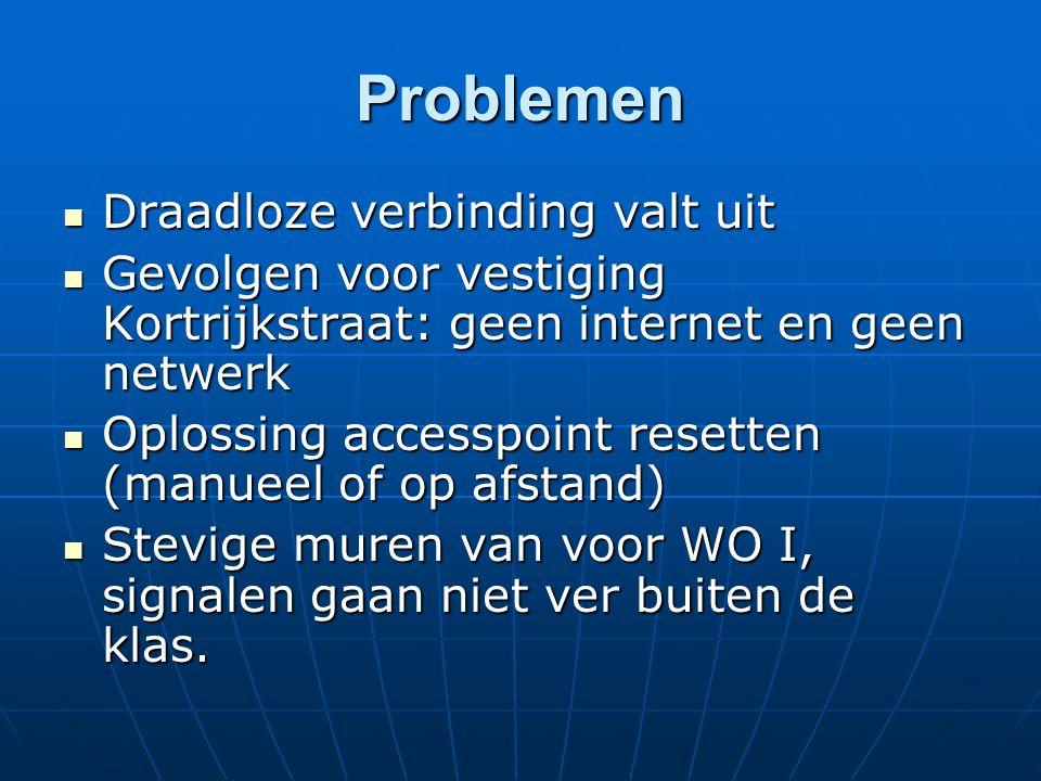 Problemen Draadloze verbinding valt uit Draadloze verbinding valt uit Gevolgen voor vestiging Kortrijkstraat: geen internet en geen netwerk Gevolgen v