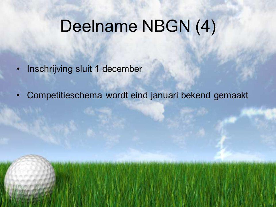 Deelname NBGN (4) Inschrijving sluit 1 december Competitieschema wordt eind januari bekend gemaakt