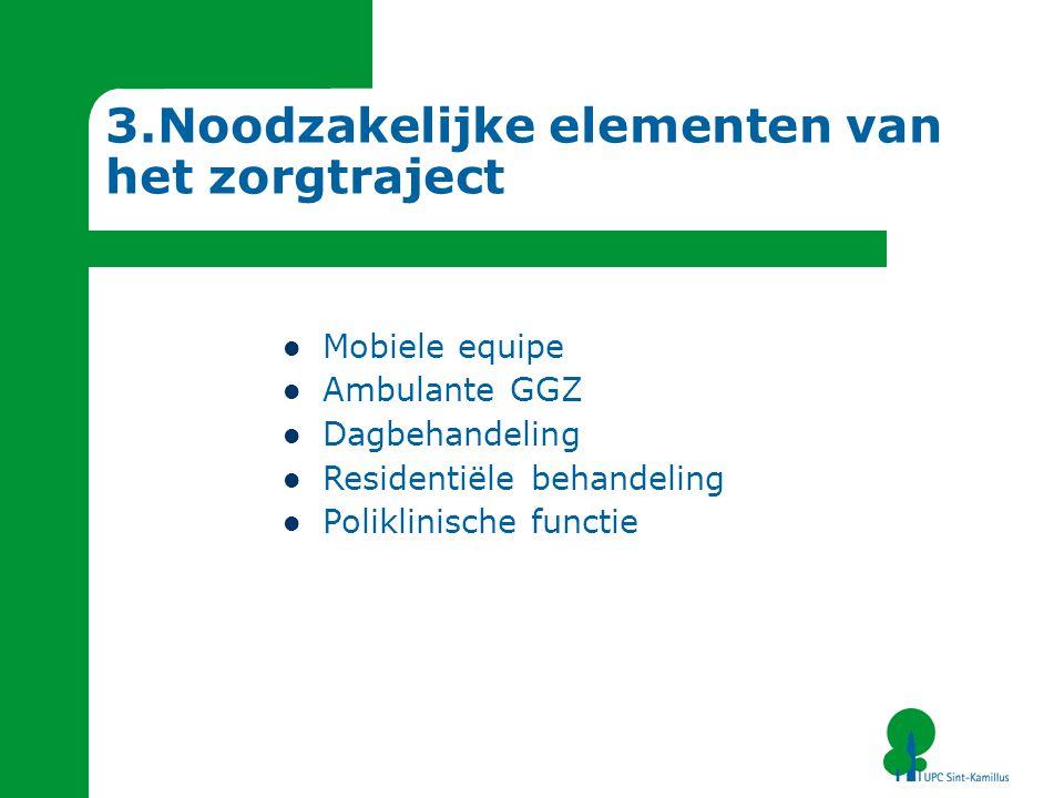 3.Noodzakelijke elementen van het zorgtraject Mobiele equipe Ambulante GGZ Dagbehandeling Residentiële behandeling Poliklinische functie