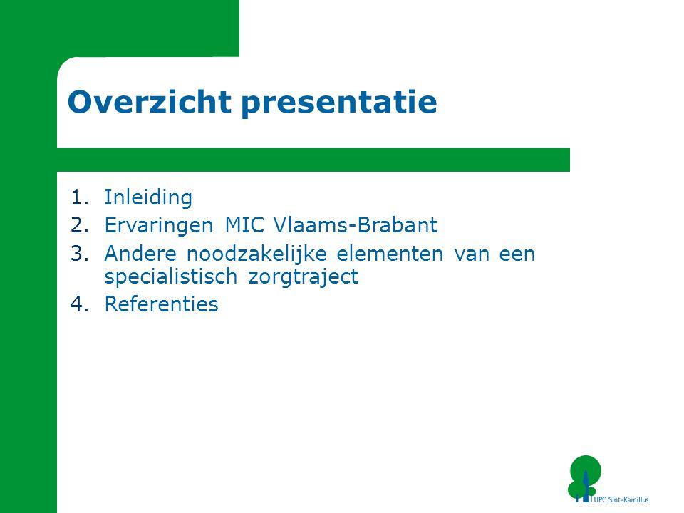 Overzicht presentatie 1.Inleiding 2.Ervaringen MIC Vlaams-Brabant 3.Andere noodzakelijke elementen van een specialistisch zorgtraject 4.Referenties