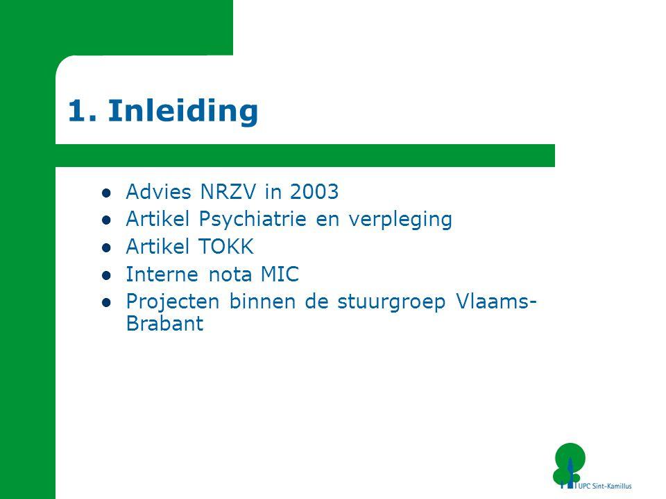 1. Inleiding Advies NRZV in 2003 Artikel Psychiatrie en verpleging Artikel TOKK Interne nota MIC Projecten binnen de stuurgroep Vlaams- Brabant