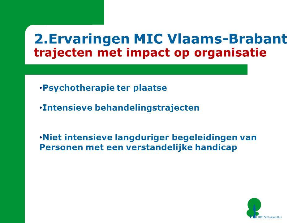 Psychotherapie ter plaatse Intensieve behandelingstrajecten Niet intensieve langduriger begeleidingen van Personen met een verstandelijke handicap 2.Ervaringen MIC Vlaams-Brabant trajecten met impact op organisatie