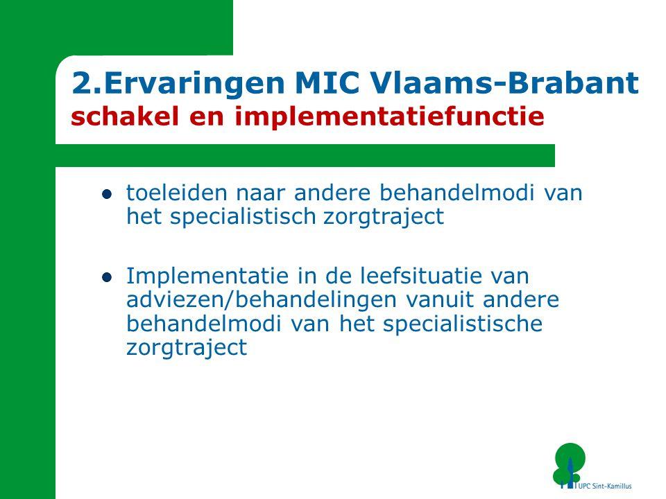 2.Ervaringen MIC Vlaams-Brabant schakel en implementatiefunctie toeleiden naar andere behandelmodi van het specialistisch zorgtraject Implementatie in de leefsituatie van adviezen/behandelingen vanuit andere behandelmodi van het specialistische zorgtraject