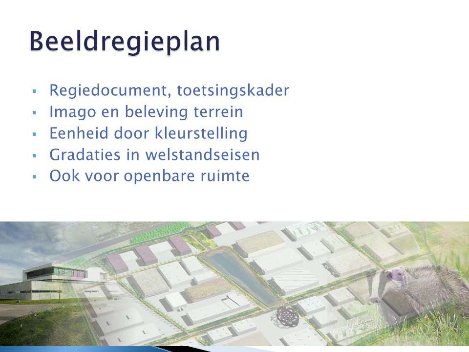 Beeldregieplan  Regiedocument, toetsingskader  Imago en beleving terrein  Eenheid door kleurstelling  Gradaties in welstandseisen  Ook voor openbare ruimte