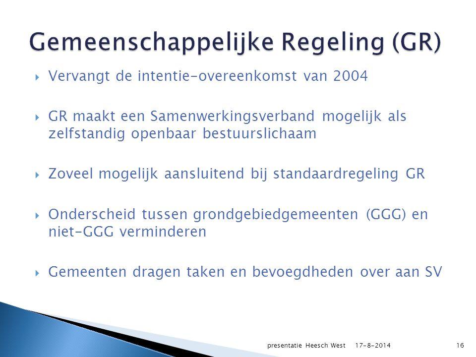  Vervangt de intentie-overeenkomst van 2004  GR maakt een Samenwerkingsverband mogelijk als zelfstandig openbaar bestuurslichaam  Zoveel mogelijk aansluitend bij standaardregeling GR  Onderscheid tussen grondgebiedgemeenten (GGG) en niet-GGG verminderen  Gemeenten dragen taken en bevoegdheden over aan SV 17-8-2014presentatie Heesch West16