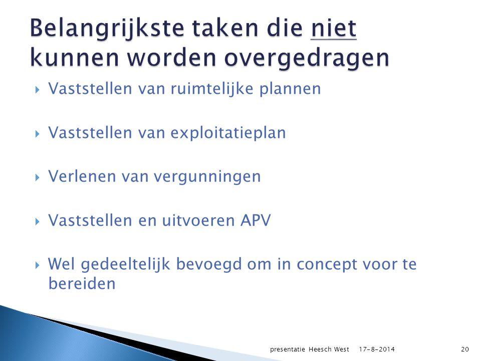  Vaststellen van ruimtelijke plannen  Vaststellen van exploitatieplan  Verlenen van vergunningen  Vaststellen en uitvoeren APV  Wel gedeeltelijk bevoegd om in concept voor te bereiden 17-8-2014presentatie Heesch West20