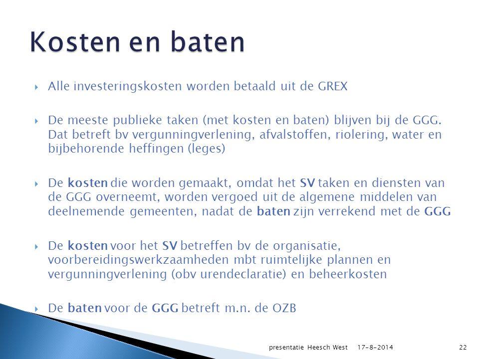  Alle investeringskosten worden betaald uit de GREX  De meeste publieke taken (met kosten en baten) blijven bij de GGG.
