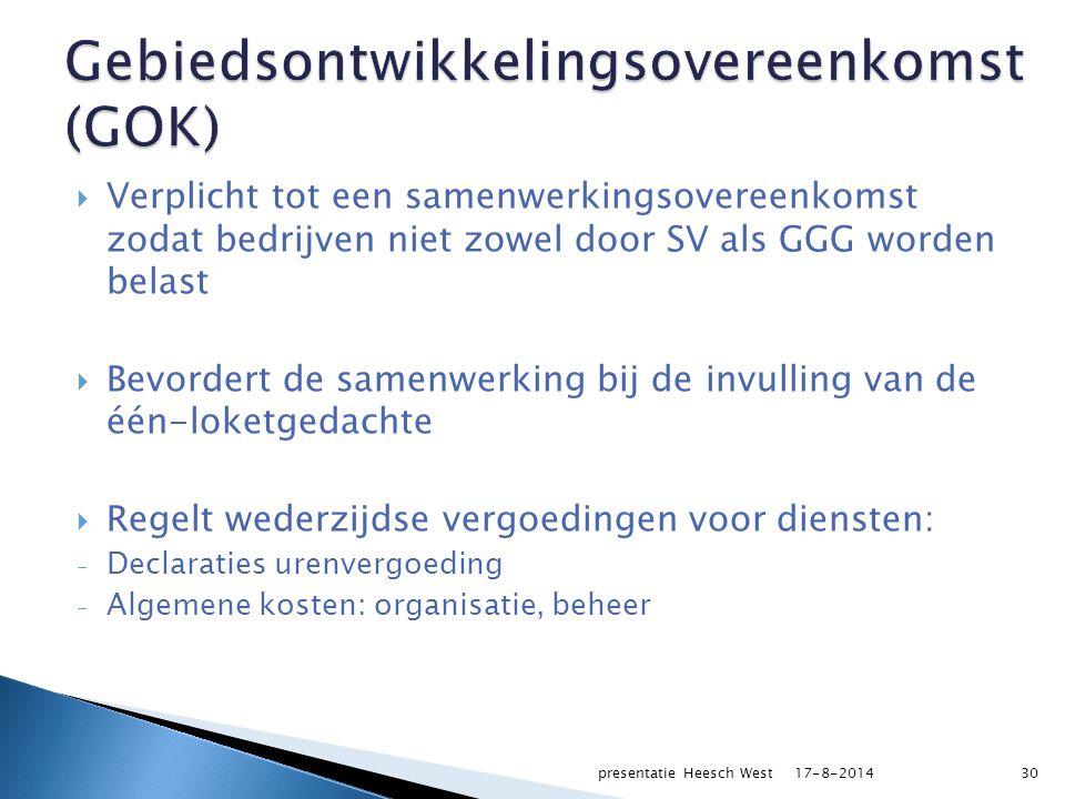  Verplicht tot een samenwerkingsovereenkomst zodat bedrijven niet zowel door SV als GGG worden belast  Bevordert de samenwerking bij de invulling van de één-loketgedachte  Regelt wederzijdse vergoedingen voor diensten: - Declaraties urenvergoeding - Algemene kosten: organisatie, beheer 17-8-2014presentatie Heesch West30