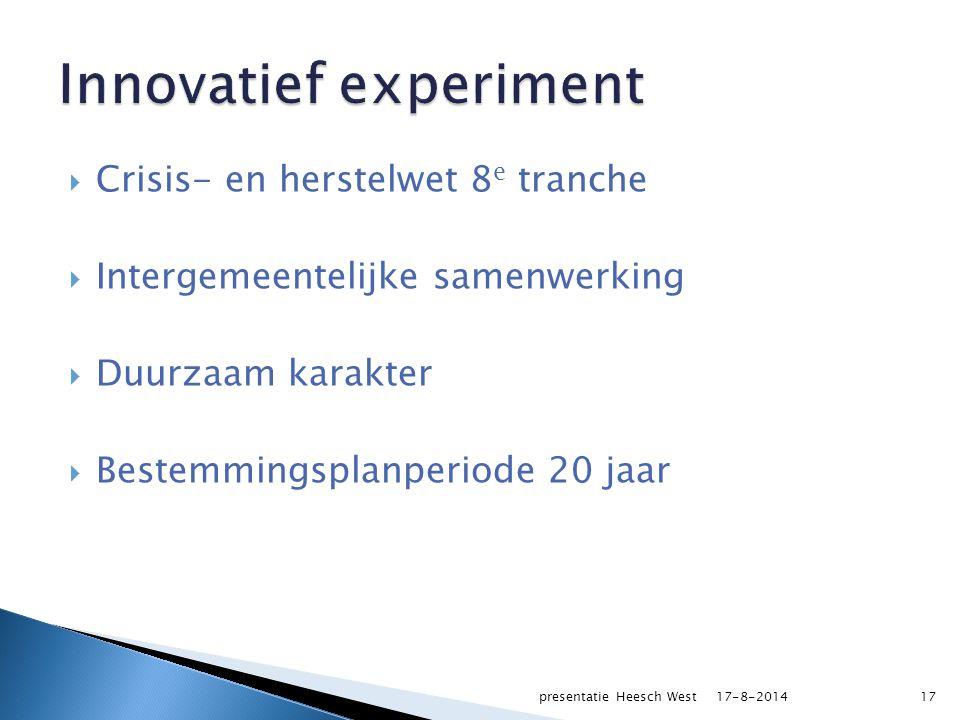  Crisis- en herstelwet 8 e tranche  Intergemeentelijke samenwerking  Duurzaam karakter  Bestemmingsplanperiode 20 jaar 17-8-2014presentatie Heesch