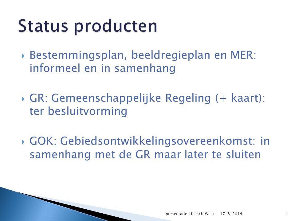  Bestemmingsplan, beeldregieplan en MER: informeel en in samenhang  GR: Gemeenschappelijke Regeling (+ kaart): ter besluitvorming  GOK: Gebiedsontwikkelingsovereenkomst: in samenhang met de GR maar later te sluiten 17-8-2014presentatie Heesch West4