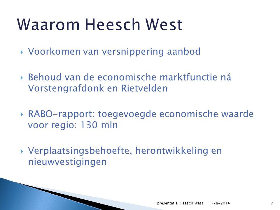  Voorkomen van versnippering aanbod  Behoud van de economische marktfunctie ná Vorstengrafdonk en Rietvelden  RABO-rapport: toegevoegde economische waarde voor regio: 130 mln  Verplaatsingsbehoefte, herontwikkeling en nieuwvestigingen 717-8-2014presentatie Heesch West