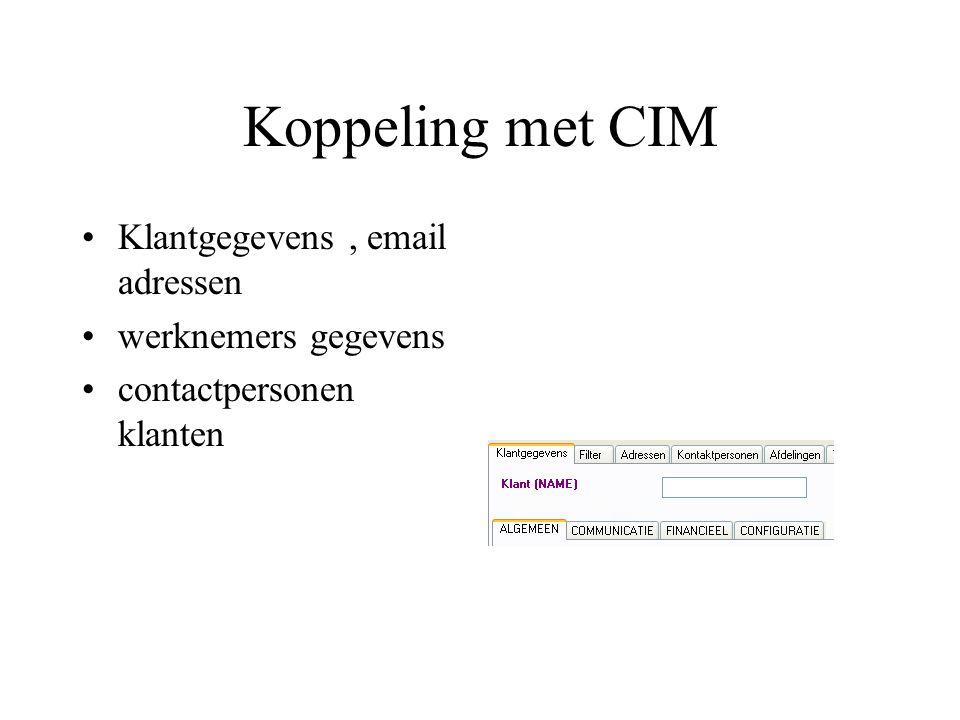 Koppeling met CIM Klantgegevens, email adressen werknemers gegevens contactpersonen klanten