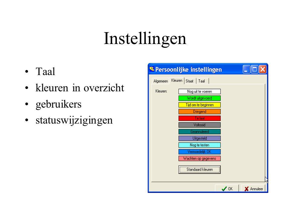 Instellingen Taal kleuren in overzicht gebruikers statuswijzigingen
