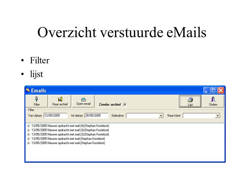 Overzicht verstuurde eMails Filter lijst