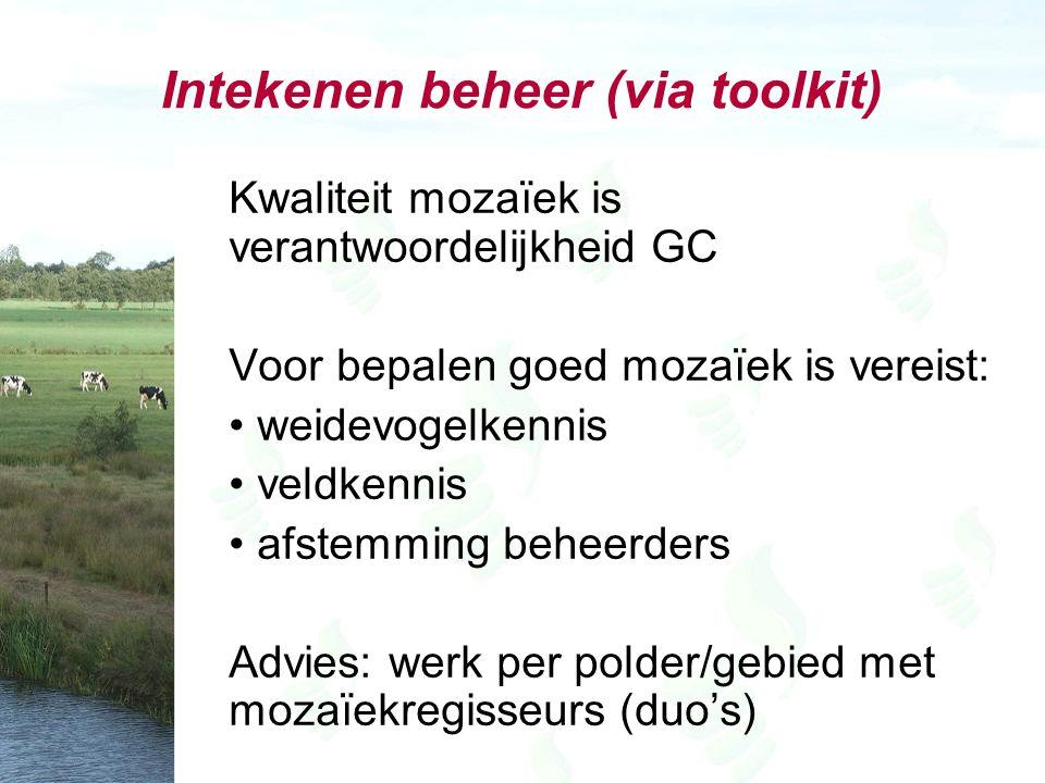 Intekenen beheer (via toolkit) Kwaliteit mozaïek is verantwoordelijkheid GC Voor bepalen goed mozaïek is vereist: weidevogelkennis veldkennis afstemming beheerders Advies: werk per polder/gebied met mozaïekregisseurs (duo's)