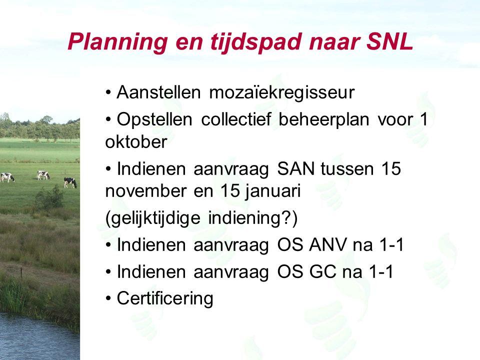 Planning en tijdspad naar SNL Aanstellen mozaïekregisseur Opstellen collectief beheerplan voor 1 oktober Indienen aanvraag SAN tussen 15 november en 1