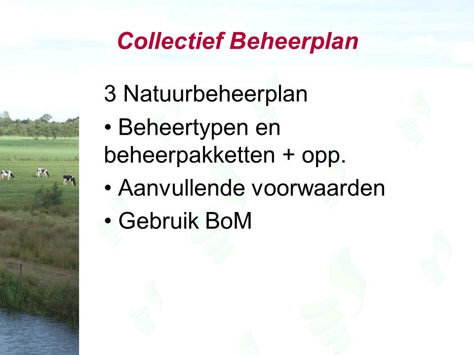 Collectief Beheerplan 3 Natuurbeheerplan Beheertypen en beheerpakketten + opp. Aanvullende voorwaarden Gebruik BoM