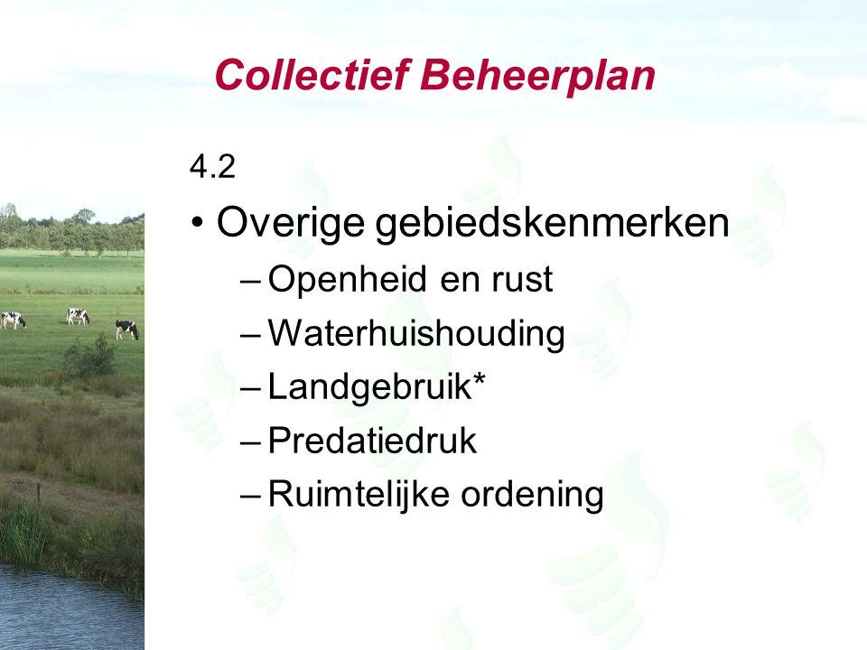 Collectief Beheerplan 4.2 Overige gebiedskenmerken –Openheid en rust –Waterhuishouding –Landgebruik* –Predatiedruk –Ruimtelijke ordening