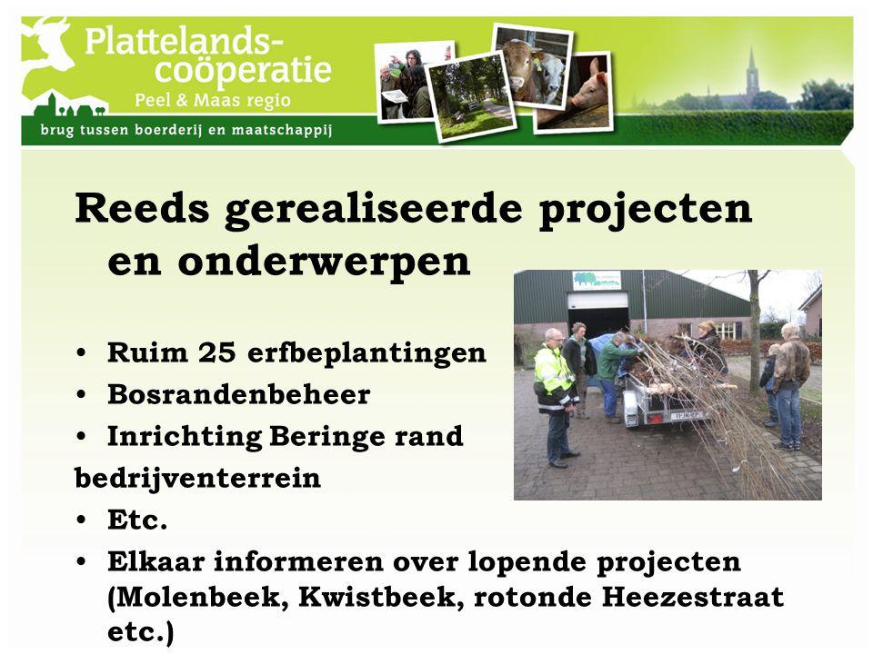 Reeds gerealiseerde projecten en onderwerpen Ruim 25 erfbeplantingen Bosrandenbeheer Inrichting Beringe rand bedrijventerrein Etc. Elkaar informeren o