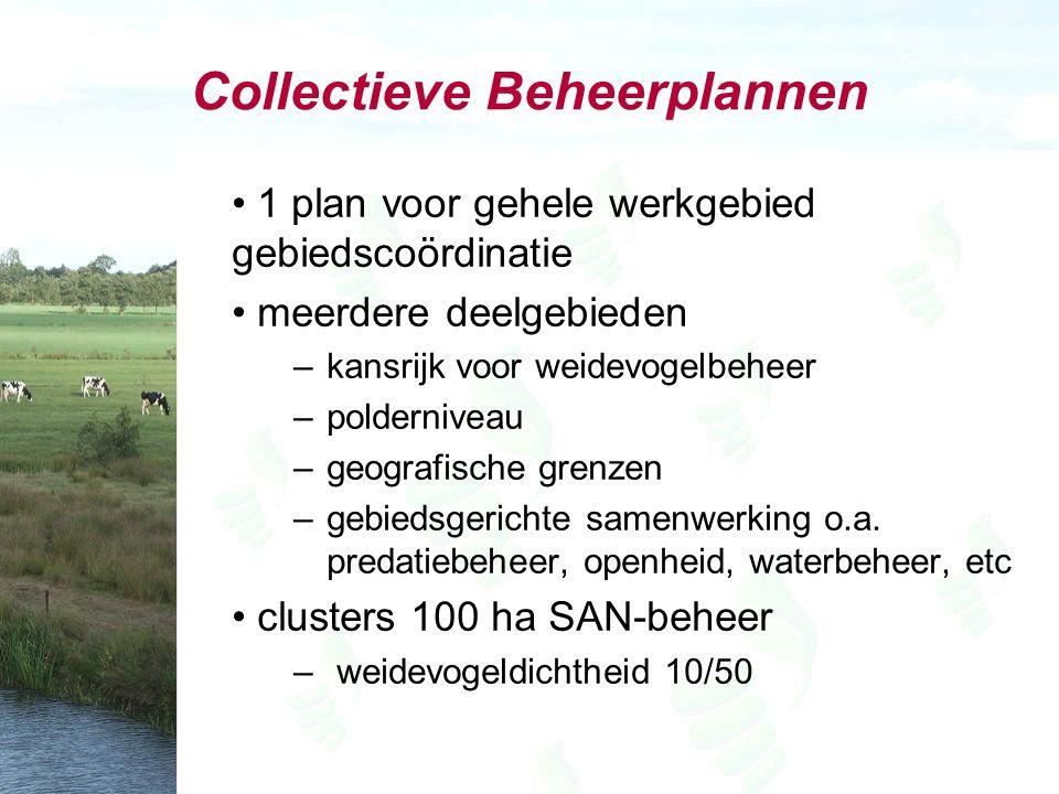 Collectieve Beheerplannen 1 plan voor gehele werkgebied gebiedscoördinatie meerdere deelgebieden –kansrijk voor weidevogelbeheer –polderniveau –geografische grenzen –gebiedsgerichte samenwerking o.a.