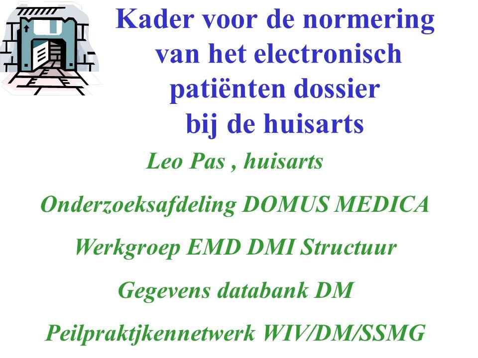 Kader voor de normering van het electronisch patiënten dossier bij de huisarts Leo Pas, huisarts Onderzoeksafdeling DOMUS MEDICA Werkgroep EMD DMI Structuur Gegevens databank DM Peilpraktjkennetwerk WIV/DM/SSMG