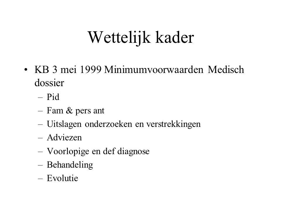 Wettelijk kader KB 3 mei 1999 Minimumvoorwaarden Medisch dossier –Pid –Fam & pers ant –Uitslagen onderzoeken en verstrekkingen –Adviezen –Voorlopige en def diagnose –Behandeling –Evolutie