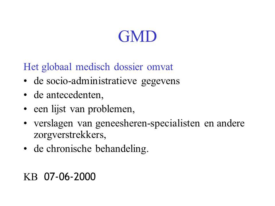 GMD Het globaal medisch dossier omvat de socio-administratieve gegevens de antecedenten, een lijst van problemen, verslagen van geneesheren-specialisten en andere zorgverstrekkers, de chronische behandeling.