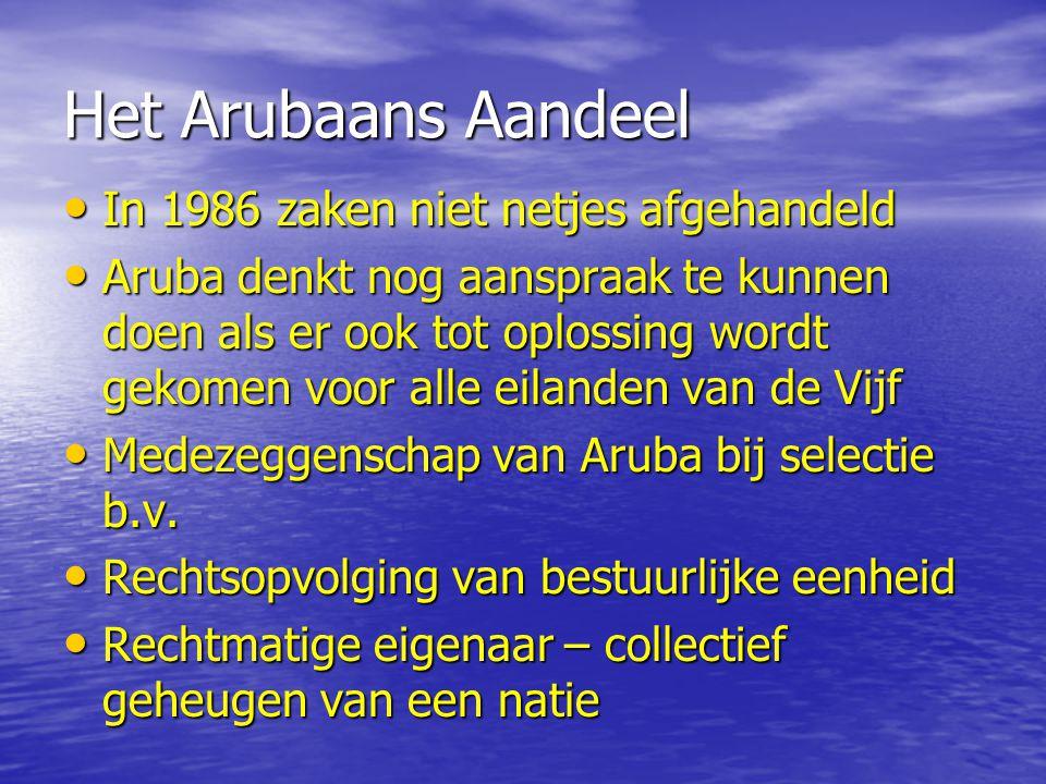 Het Arubaans Aandeel In 1986 zaken niet netjes afgehandeld In 1986 zaken niet netjes afgehandeld Aruba denkt nog aanspraak te kunnen doen als er ook tot oplossing wordt gekomen voor alle eilanden van de Vijf Aruba denkt nog aanspraak te kunnen doen als er ook tot oplossing wordt gekomen voor alle eilanden van de Vijf Medezeggenschap van Aruba bij selectie b.v.