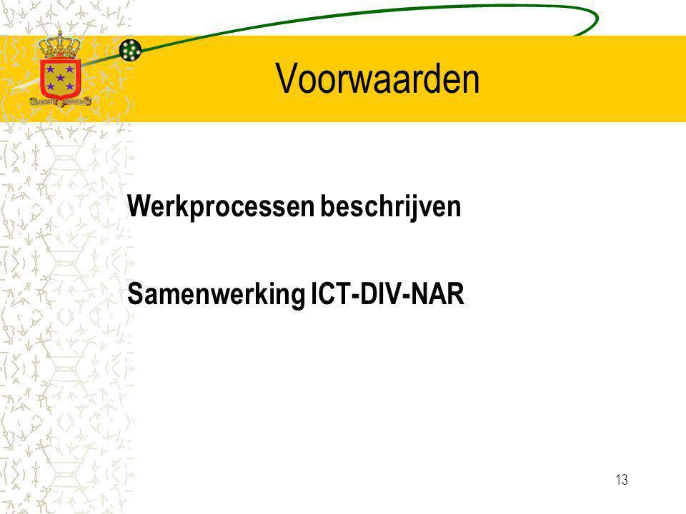 13 Voorwaarden Werkprocessen beschrijven Samenwerking ICT-DIV-NAR