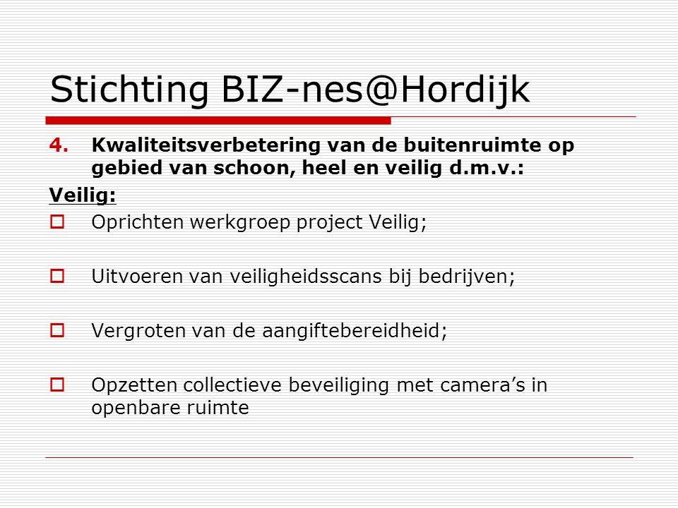 Stichting BIZ-nes@Hordijk 4.Kwaliteitsverbetering van de buitenruimte op gebied van schoon, heel en veilig d.m.v.: Veilig:  Oprichten werkgroep proje