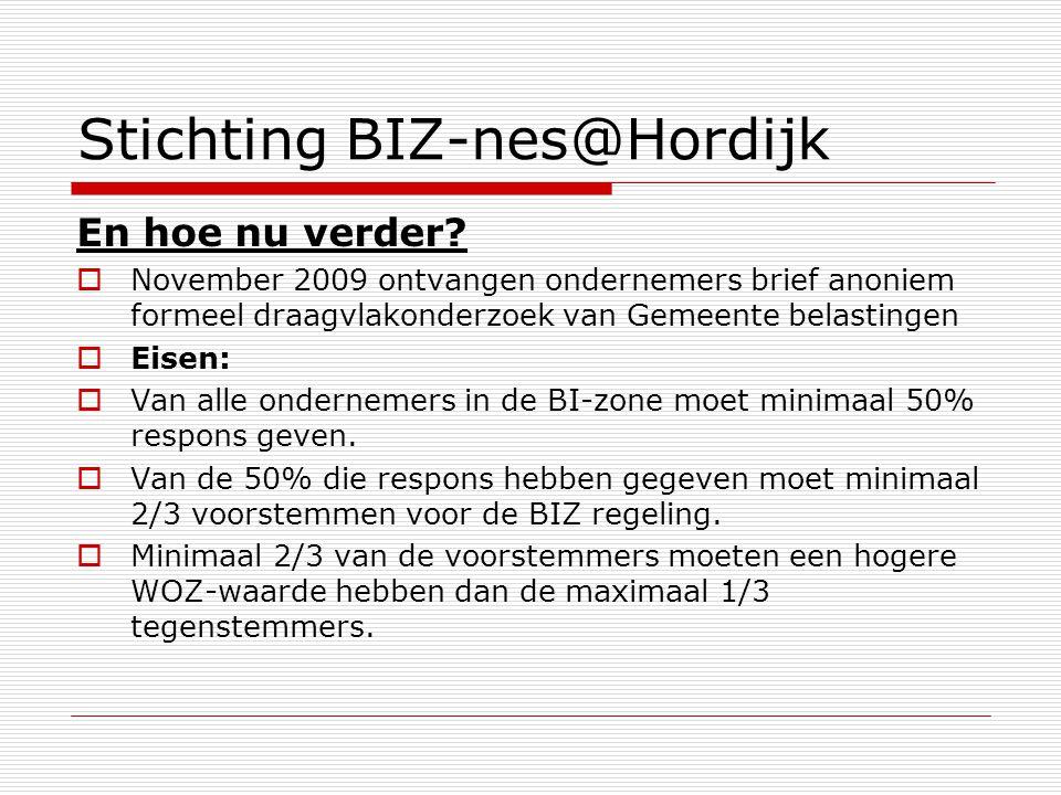 Stichting BIZ-nes@Hordijk En hoe nu verder?  November 2009 ontvangen ondernemers brief anoniem formeel draagvlakonderzoek van Gemeente belastingen 