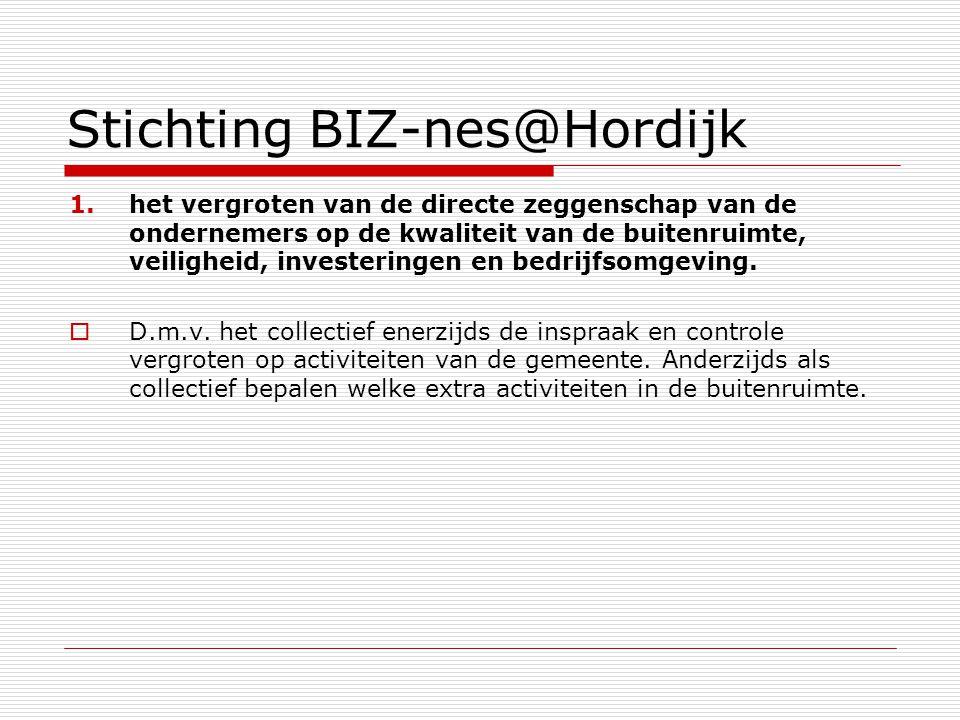 Stichting BIZ-nes@Hordijk 1.het vergroten van de directe zeggenschap van de ondernemers op de kwaliteit van de buitenruimte, veiligheid, investeringen