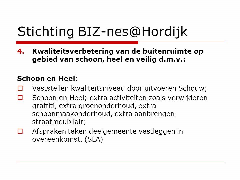Stichting BIZ-nes@Hordijk 4.Kwaliteitsverbetering van de buitenruimte op gebied van schoon, heel en veilig d.m.v.: Schoon en Heel:  Vaststellen kwali