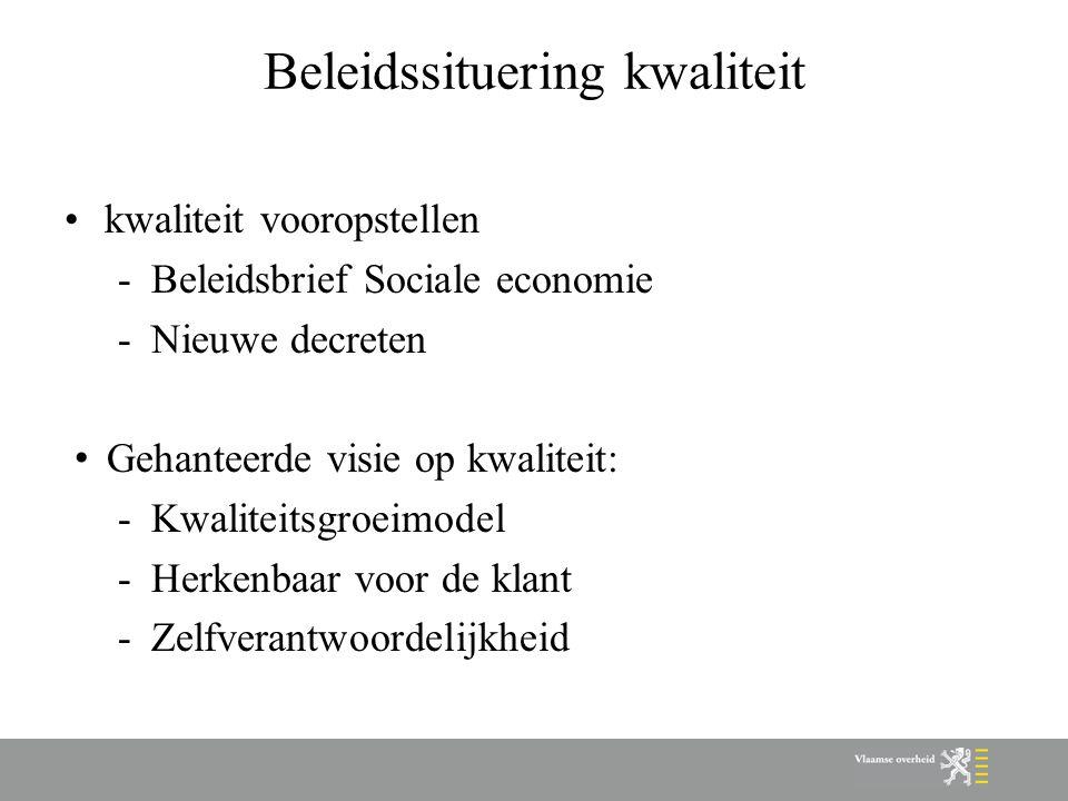 Beleidssituering kwaliteit kwaliteit vooropstellen -Beleidsbrief Sociale economie -Nieuwe decreten Gehanteerde visie op kwaliteit: -Kwaliteitsgroeimod