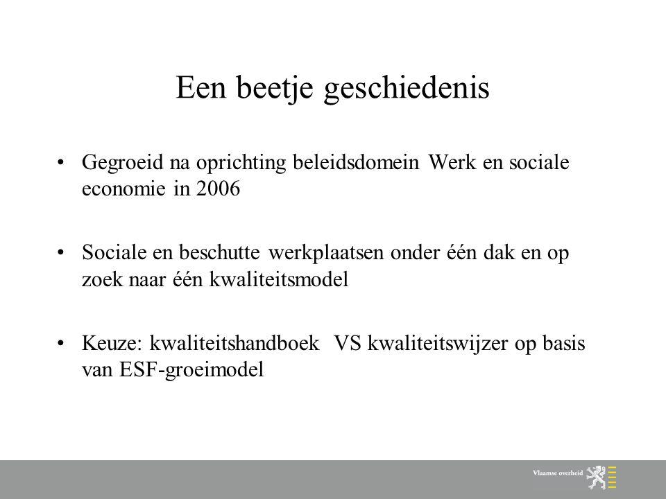Een beetje geschiedenis Gegroeid na oprichting beleidsdomein Werk en sociale economie in 2006 Sociale en beschutte werkplaatsen onder één dak en op zo
