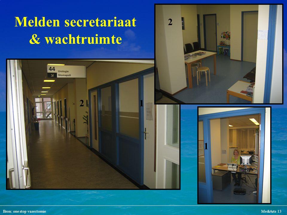 Bron: one stop vasectomieMediArts 13 Melden secretariaat & wachtruimte 1 12 22