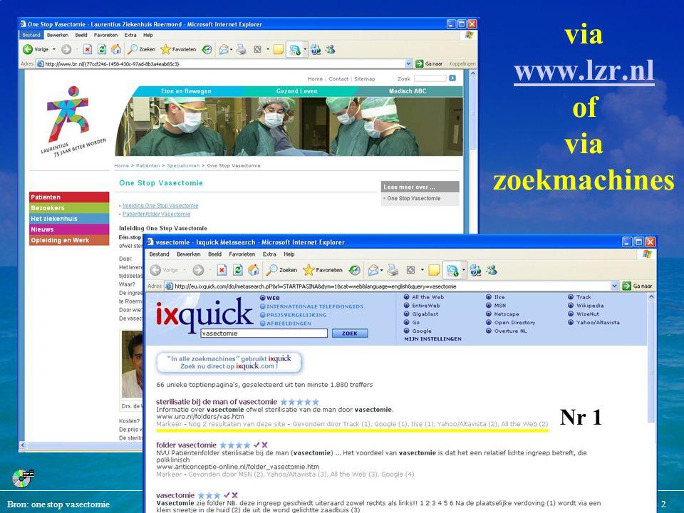 Bron: one stop vasectomieMediArts 2 via www.lzr.nl of via zoekmachines www.lzr.nl Nr 1