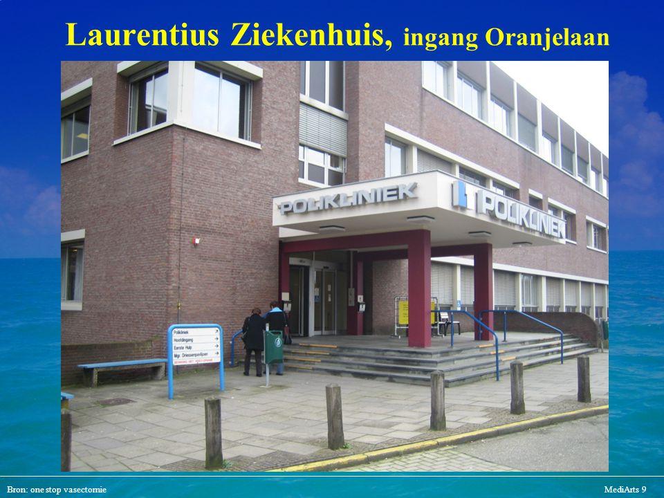 Bron: one stop vasectomieMediArts 9 Laurentius Ziekenhuis, ingang Oranjelaan
