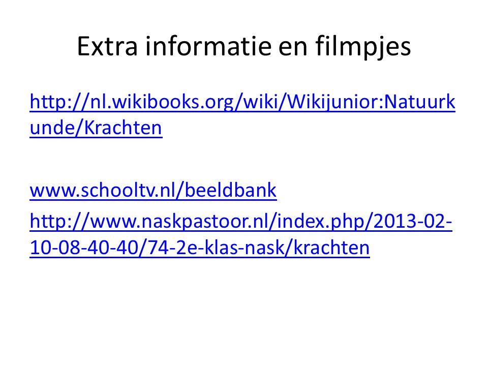 Extra informatie en filmpjes http://nl.wikibooks.org/wiki/Wikijunior:Natuurk unde/Krachten www.schooltv.nl/beeldbank http://www.naskpastoor.nl/index.p