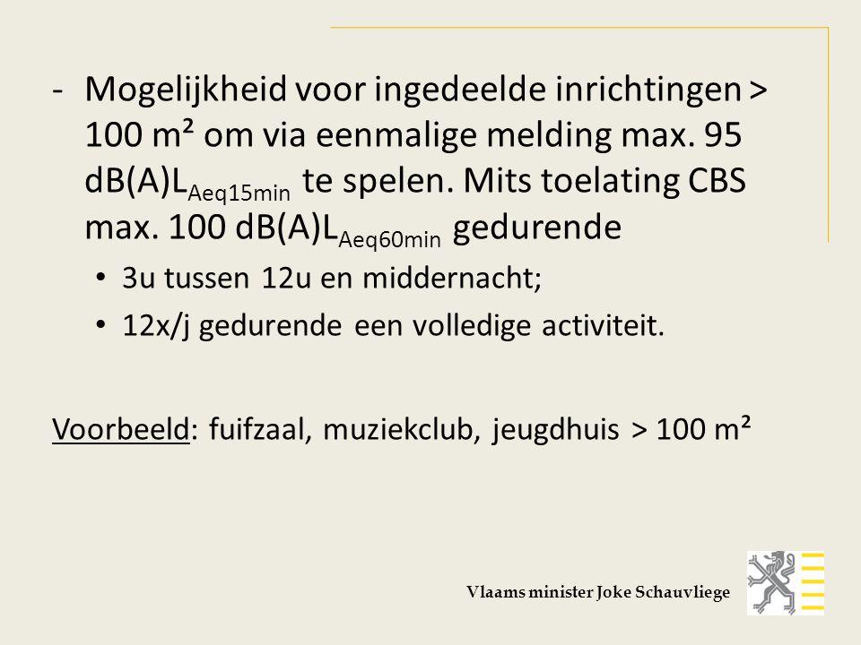 -Mogelijkheid voor ingedeelde inrichtingen > 100 m² om via eenmalige melding max. 95 dB(A)L Aeq15min te spelen. Mits toelating CBS max. 100 dB(A)L Aeq