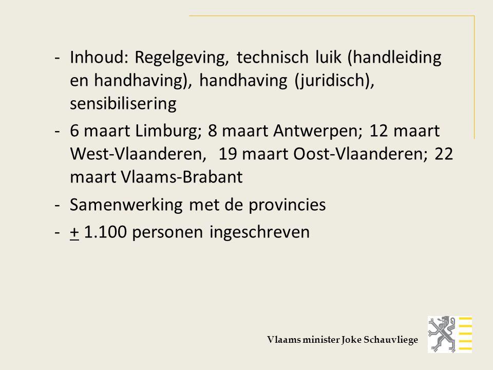 -Inhoud: Regelgeving, technisch luik (handleiding en handhaving), handhaving (juridisch), sensibilisering -6 maart Limburg; 8 maart Antwerpen; 12 maar