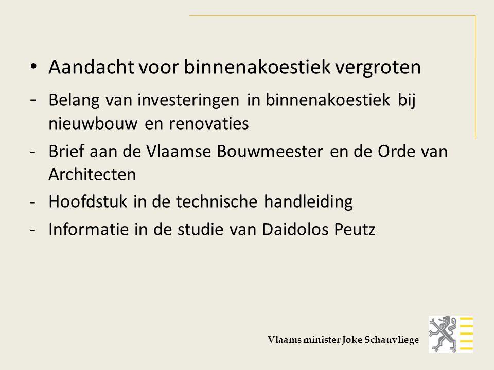 Aandacht voor binnenakoestiek vergroten - Belang van investeringen in binnenakoestiek bij nieuwbouw en renovaties - Brief aan de Vlaamse Bouwmeester e