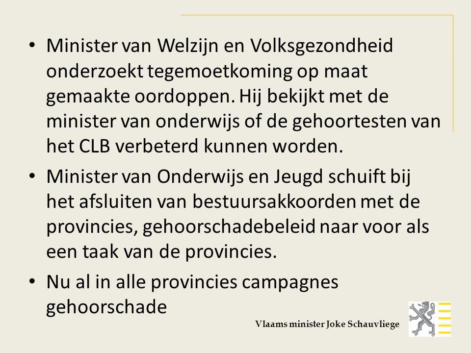 Minister van Welzijn en Volksgezondheid onderzoekt tegemoetkoming op maat gemaakte oordoppen. Hij bekijkt met de minister van onderwijs of de gehoorte