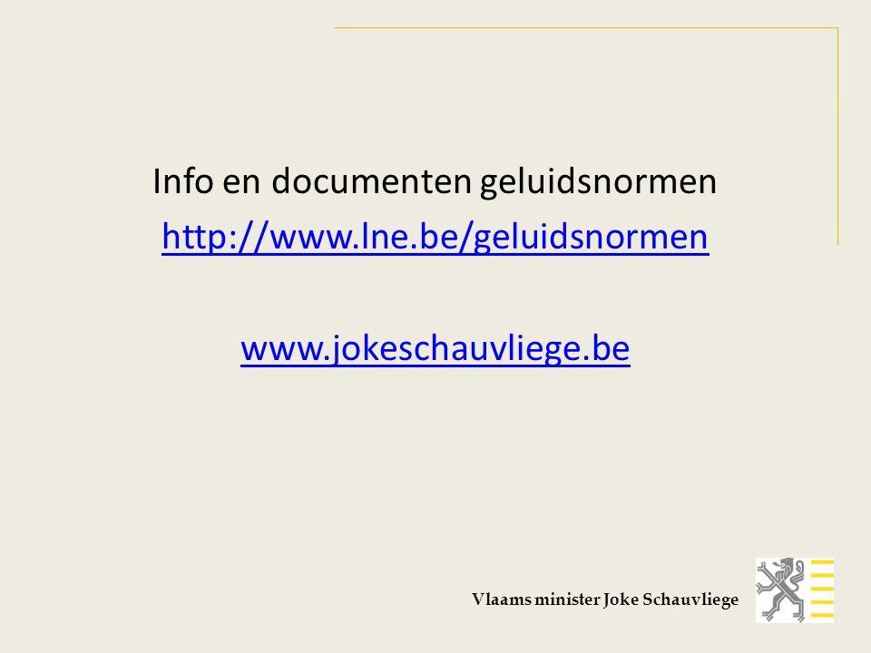 Info en documenten geluidsnormen http://www.lne.be/geluidsnormen www.jokeschauvliege.be Vlaams minister Joke Schauvliege