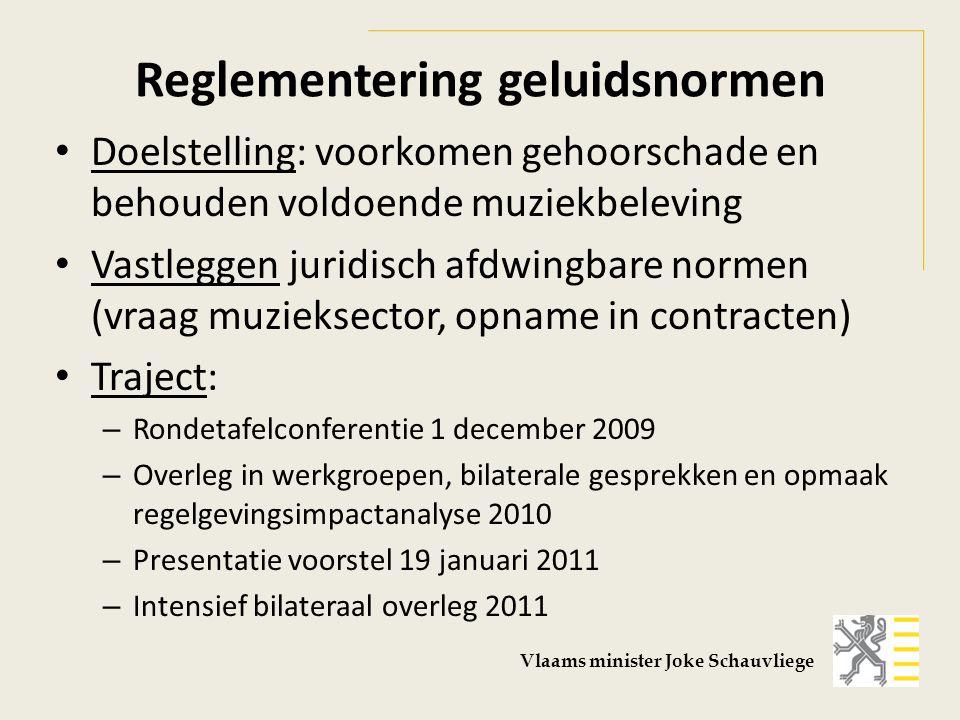 - Goedkeuring door Vlaamse Regering (VR) principes reglementering geluidsnormen, 10 juni 2011 - Overleg - Eerste principiële goedkeuring VR, 15 juli 2011 - Adviezen SERV (Sociaal-Economische Raad Vlaanderen), Minaraad, Vlaamse Jeugdraad, SARC (Strategische Aviesraad Cultuur, Jeugd, Sport, Media) en SAR WGG (Strategische Adviesraad voor Welzijn, Gezondheid en Gezin) - Spontaan advies: Gezinsbond, Ho.Re.Ca Vlaanderen, Formaat Vlaams minister Joke Schauvliege