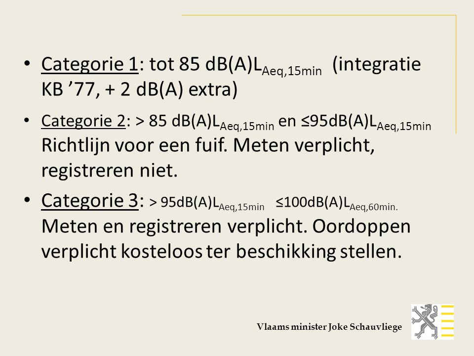 Handhaving categorie 1 (≤ 85 dB(A) L Aeq,15min) : er mag getoetst worden aan 92 dB(A) L Amax,slow categorie 2 (≤95 dB(A) L Aeq,15min) : er mag getoetst worden aan 102 dB(A) L Amax,slow categorie 3 (≤100 dB(A) L Aeq,60min) : er mag getoetst worden aan 102dB(A) L Aeq,15min Vlaams minister Joke Schauvliege